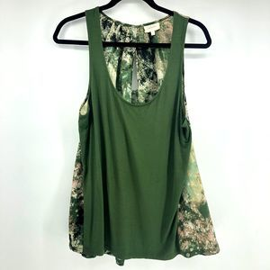 Anthropologie Deletta Green Abstract Tank Top